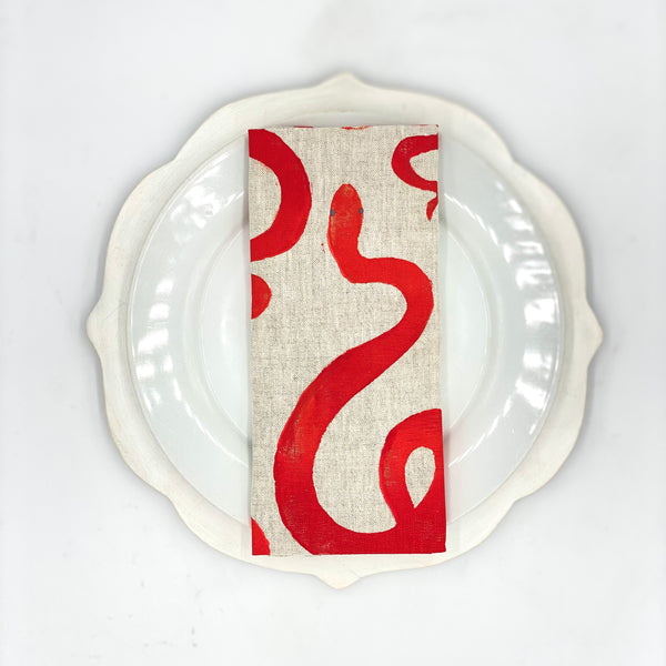 Snake Linen Napkins in Cherry Bomb (Set of 4)