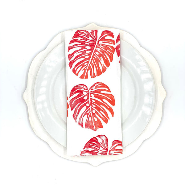 Monstera Linen Napkins in Cherry Bomb (Set of 4)