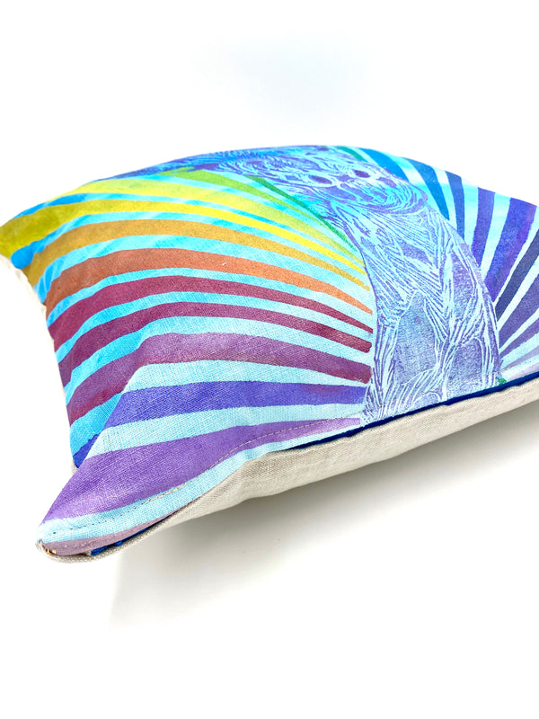 Superstar Giraffe with Rainbow Rays on Hand-Painted Blue Ombré Pillow