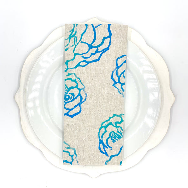 Peony Linen Napkins in Huckleberry (Set of 4)