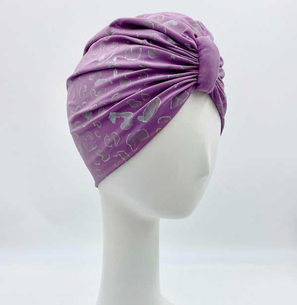 Dmaran x Tulusa Turban Collaboration in Silver Cheetah with Lavender Turban