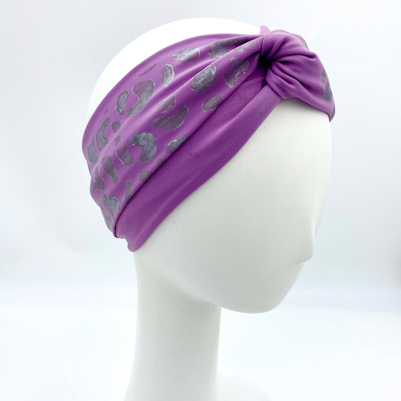 Dmaran x Tulusa Loop Knotted Head-Wrap Collaboration with White Cheetah Print on Lavender