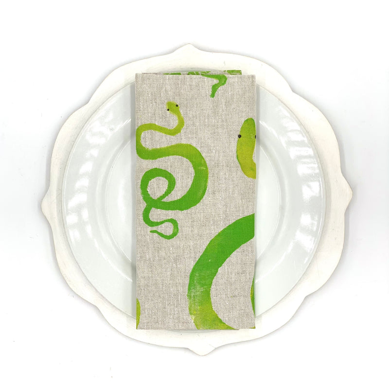 Snake Linen Napkins in Prickly Pear (Set of 4)