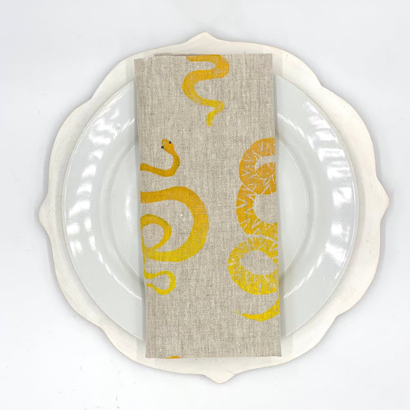Snake Linen Napkins in Lemon Fizz (Set of 4)