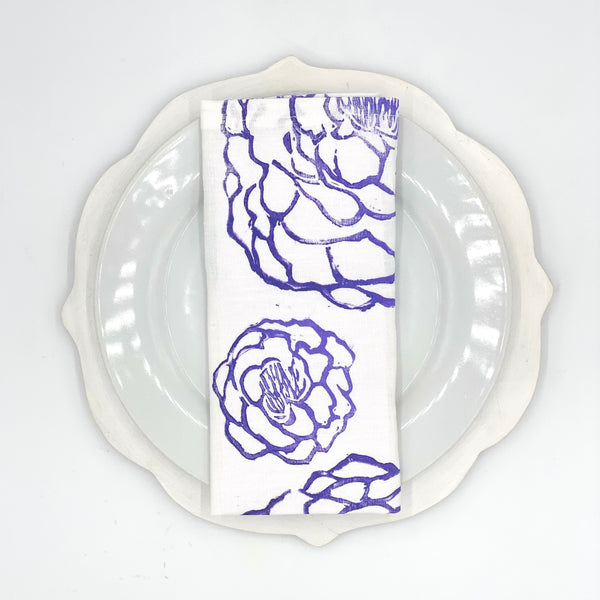 Peony Linen Napkins in Purple Haze (Set of 4)