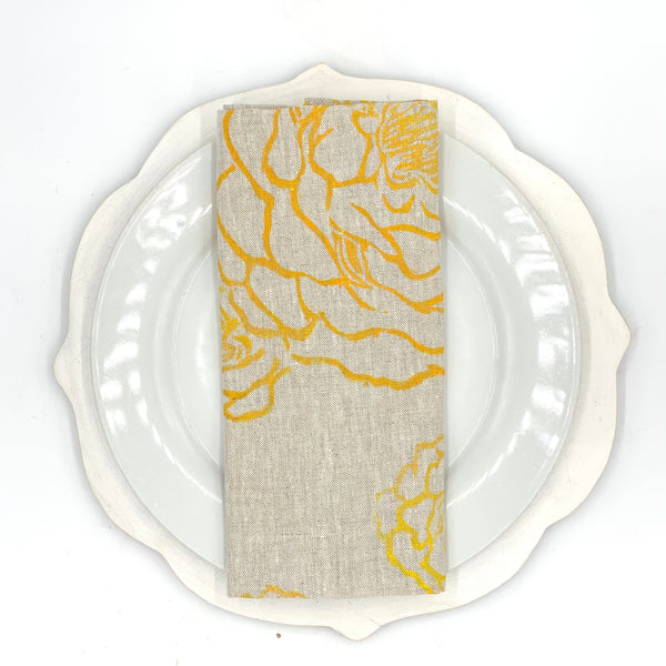 Peony Linen Napkins in Lemon Fizz (Set of 4)