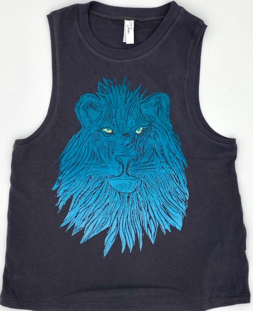 Blue Ombre on Black Muscle Tee