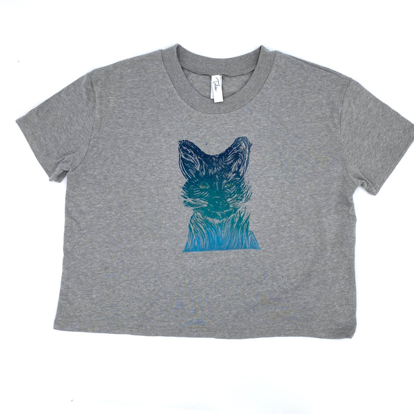 Block-Print Fox Crop Tee