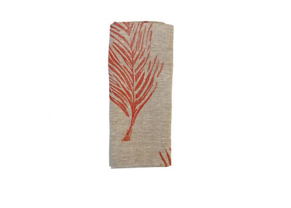 linen napkin oatmeal feather print in coral Tulusa