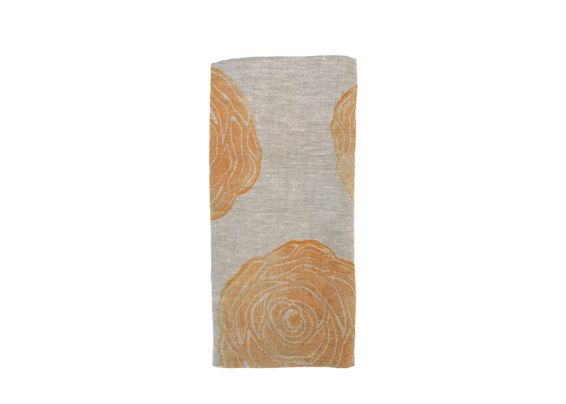Rose Print Linen Napkins in Mango|Oat by Tulusa
