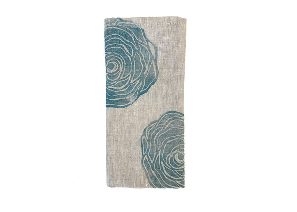 Rose Print Napkin in Peacock Blue by Tulusa