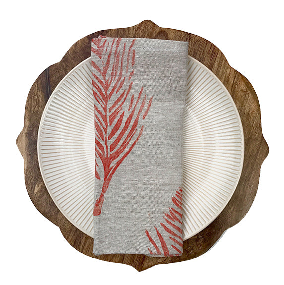 linen napkin feather print in coral Tulusa