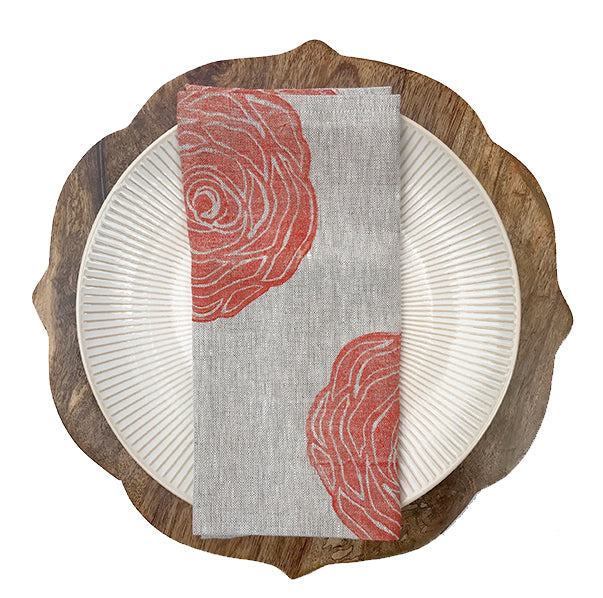 Rose Print Linen Napkin in Coral|Oat Tulusa
