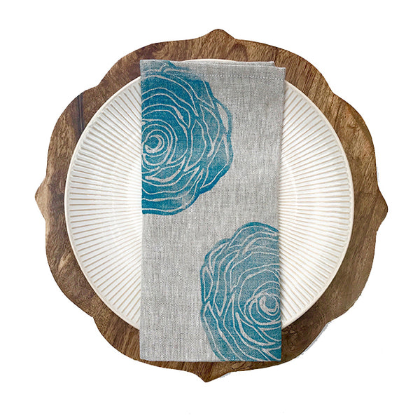 Rose Print Linen Napkin in Peacock Blue by Tulusa