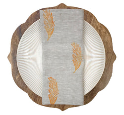 Petite Feather Print Napkins in Mango|Oat Tulusa