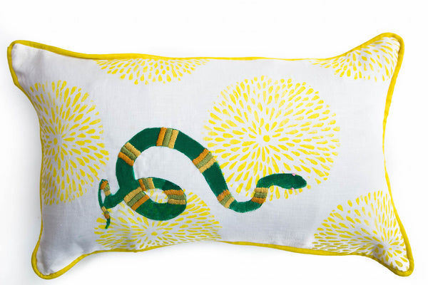 Embroidered Snake in Green on Yellow Mums