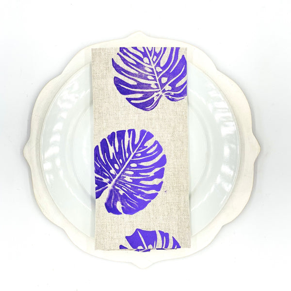 Monstera Linen Napkins in Purple Haze (Set of 4)