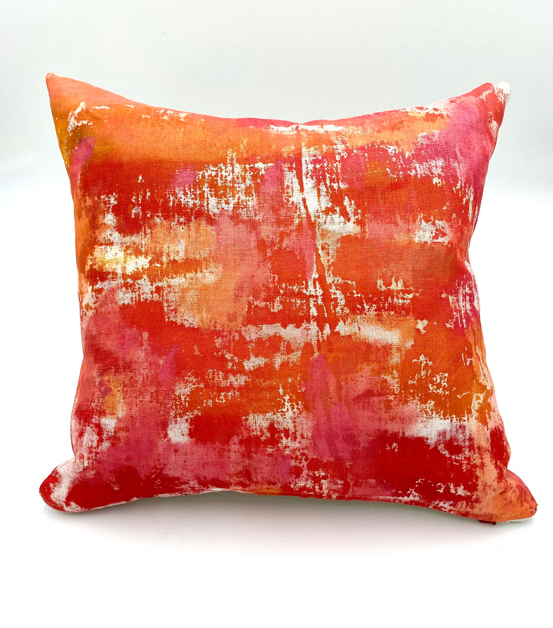 Hand-Painted Pillow in Ruby Mist