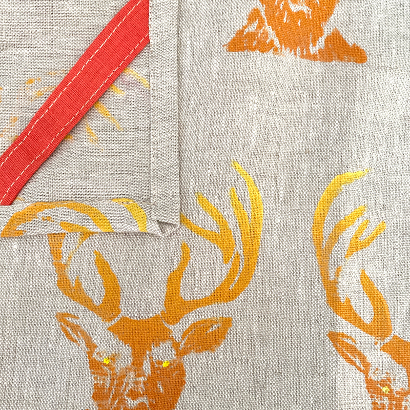 Linen Tea Towel in Stag Ombré