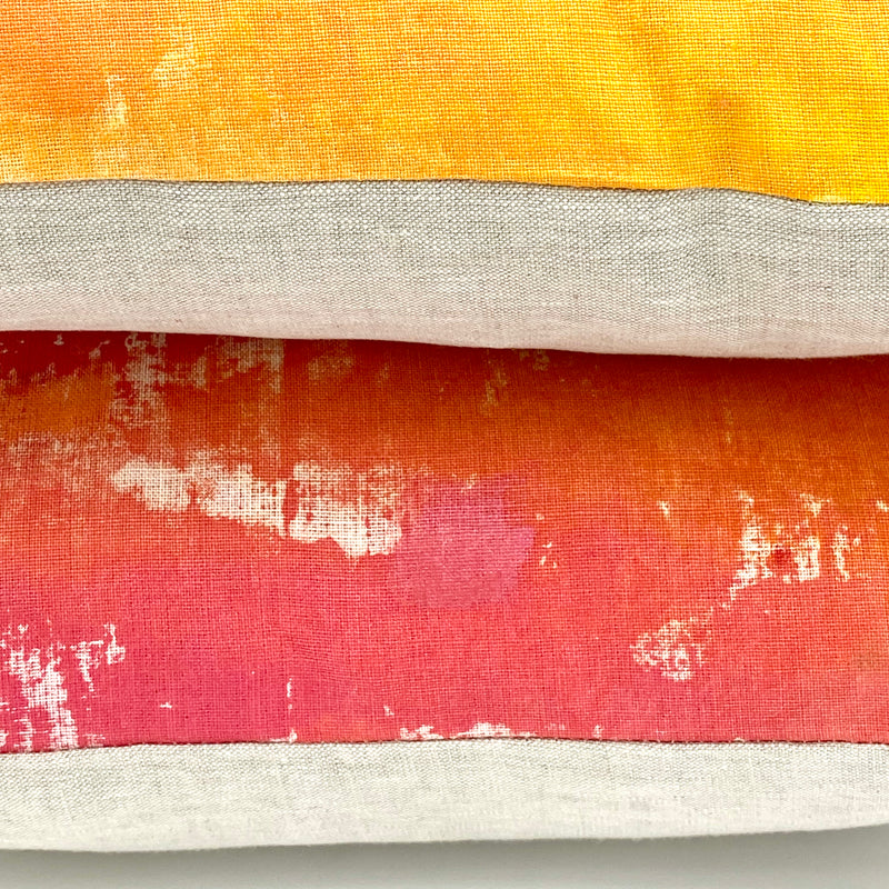 Hand-Painted Pillow in Mango Mist
