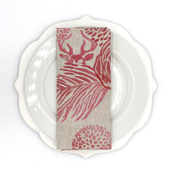 *Chimera Stag Napkins in Ruby (set of 4 or set of 2)