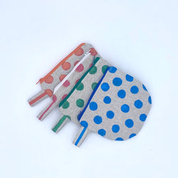 Linen Coin Purse in Dots