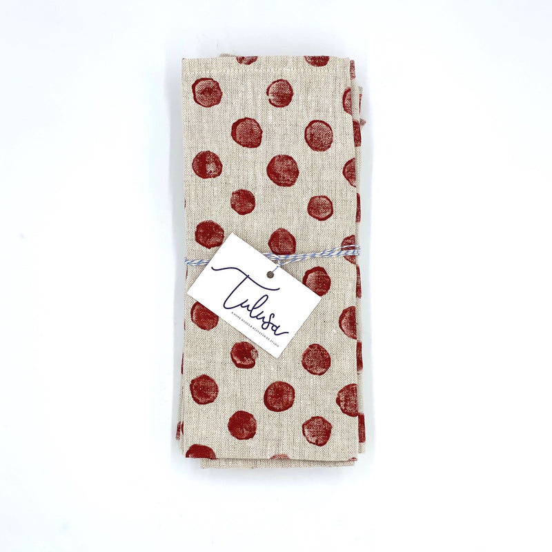 Linen Napkins in Brick Dots (set of 4)
