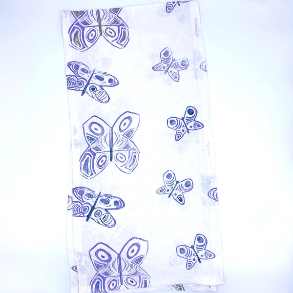 Linen Table Runner in Purple Haze Butterfly