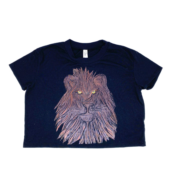 Block-Print Lion Crop Tee