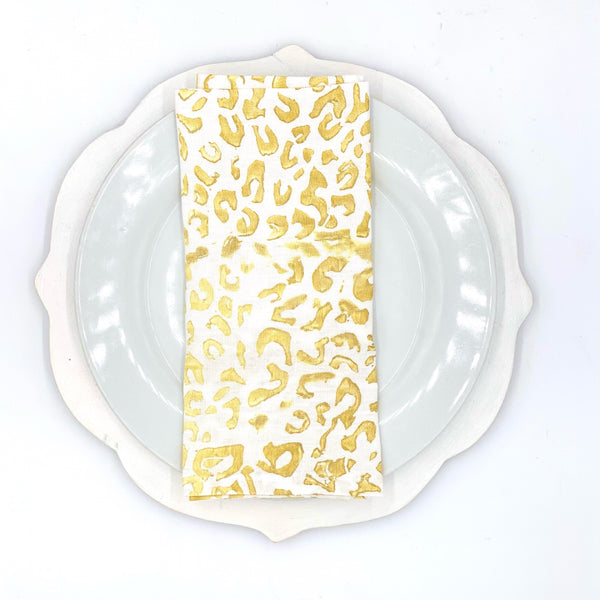 Holiday Collection | Linen Napkins in Cheetah (Set of 4)