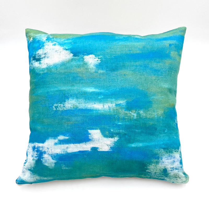 Hand-Painted Pillow in Peacock Blue Mist