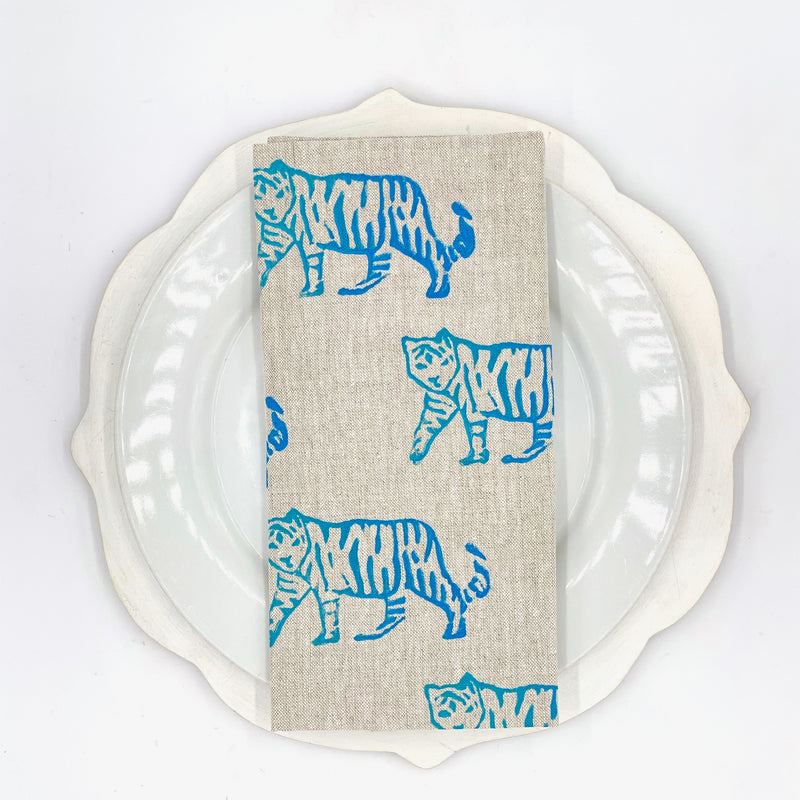 Tiger Linen Napkins in Huckleberry (Set of 4)
