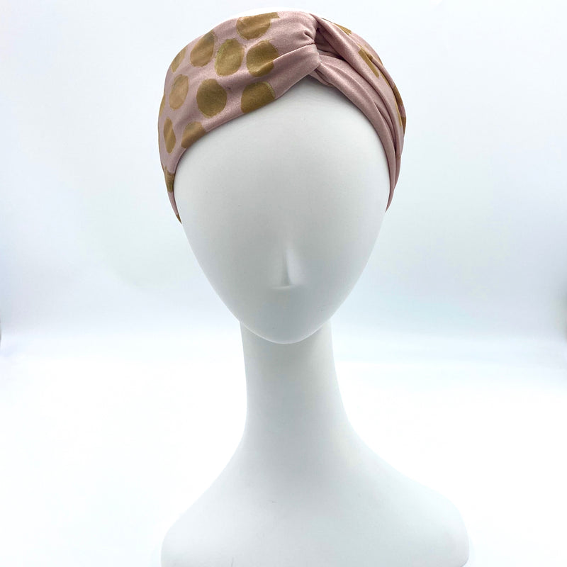 Dmaran x Tulusa Loop Knotted Head-Wrap Collaboration with Polka Dots on Shimmery Sand