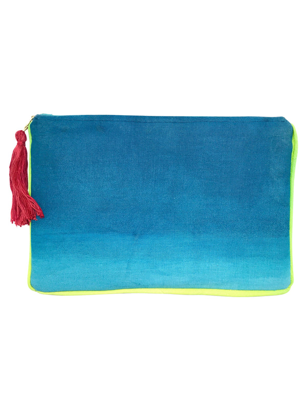 Oversized Ombre' Clutch in Ocean Blues with Neon Green Piping by Tulusa