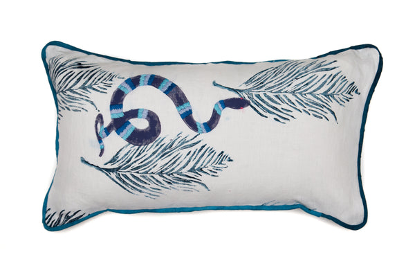 Embroidered Snake Bolster Pillow in Blues on Navy Feathers