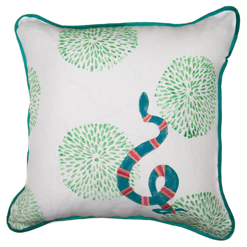 Embroidered Snake Pillow with Green Mums|White