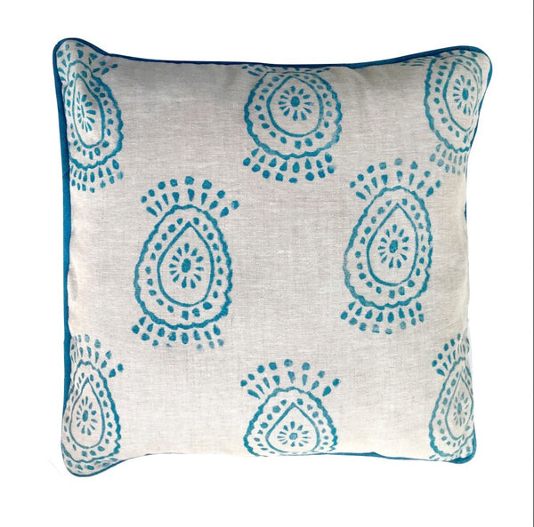 pineapple flower print pillow in peacock blue|Tulusa