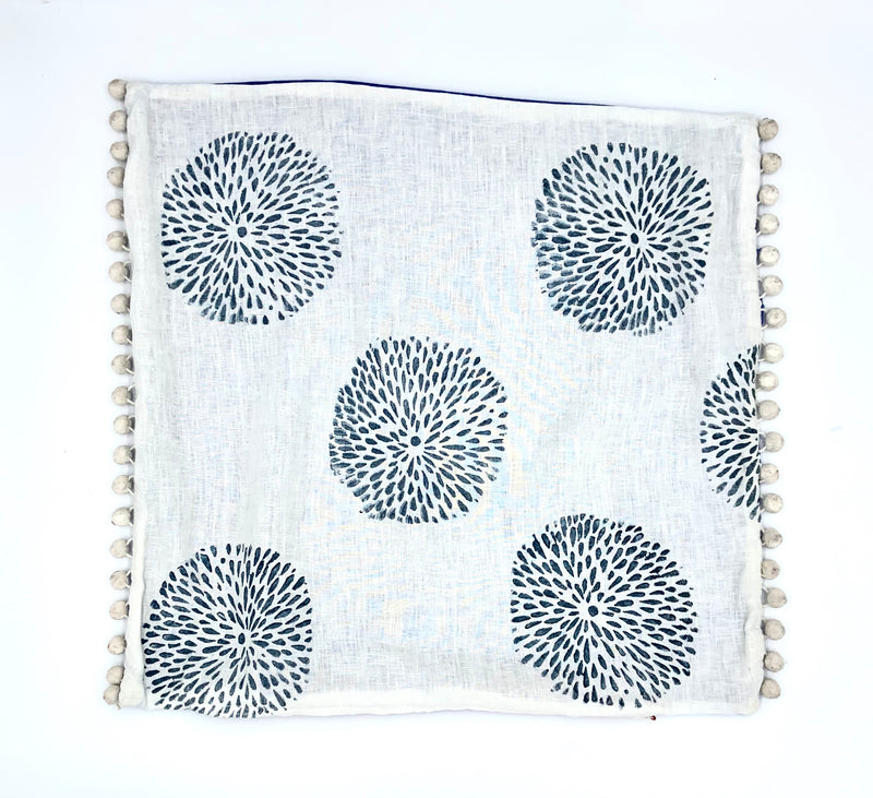 Block-Print Mums Pillow Cover with Pom Poms (multiple colors)