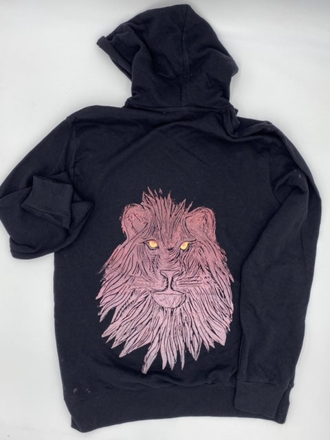 Pink Ombre Lion on Black Hoodie