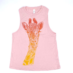 Block-Print Giraffe Muscle Tee (multiple colors)