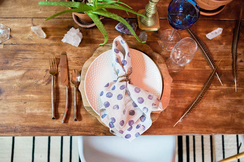 Polka Dot Linen Napkin in Purple Haze