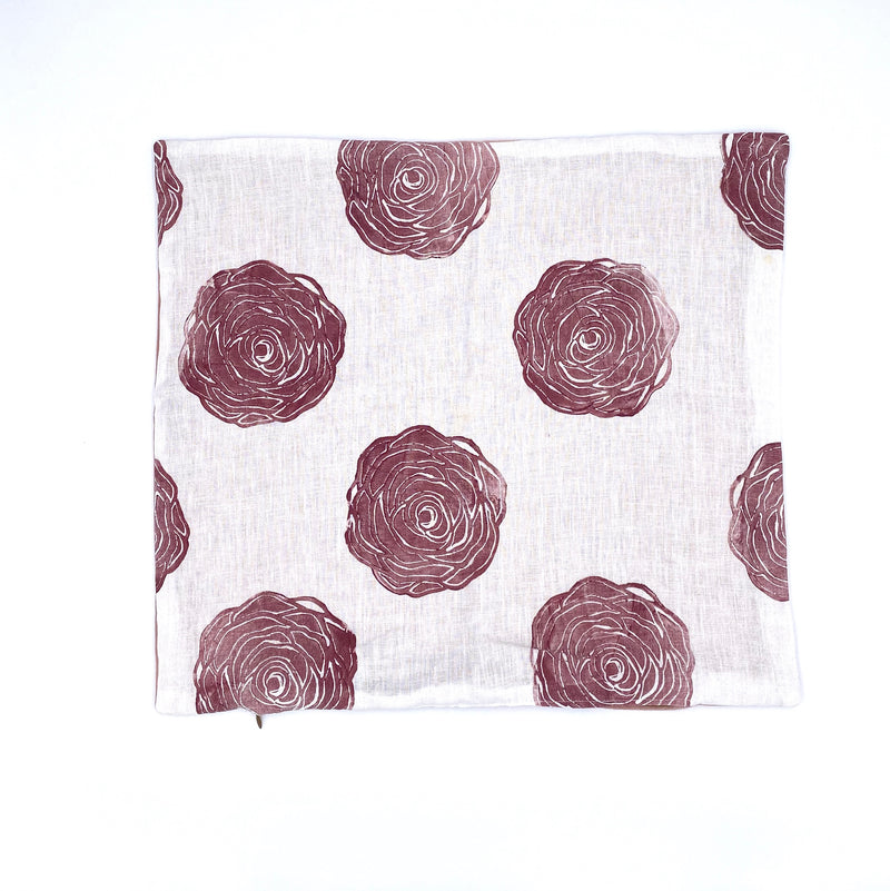 Block-Print Rose in Brick with Blush Velvet Back Pillow Cover