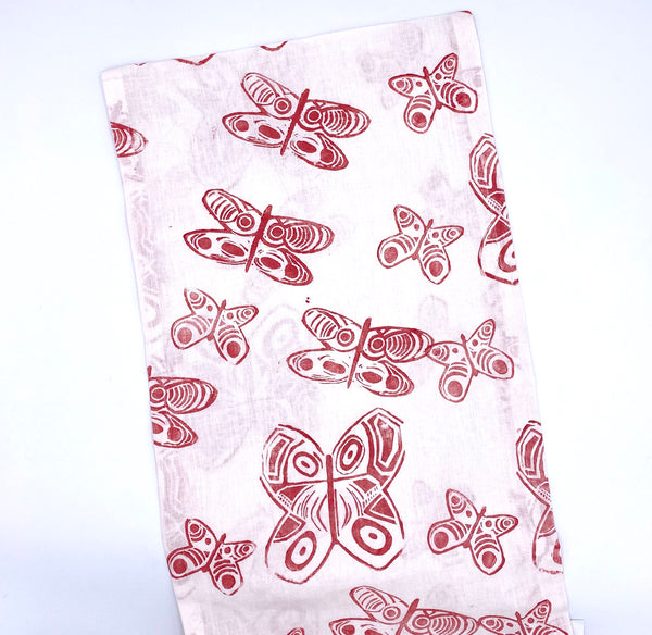 Linen Table Runner in Crimson Butterfly