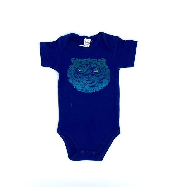 Short-Sleeve Henry the Tiger Onesie in Blue (12-18 mo.)