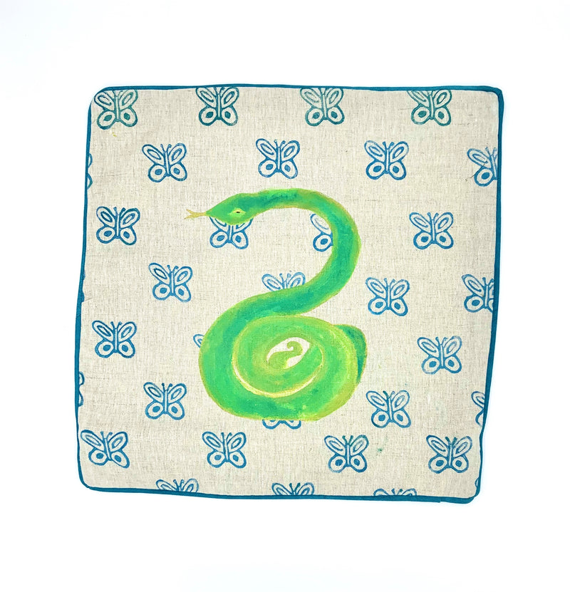 Snake with Block-Print Butterflies Pillow Cover