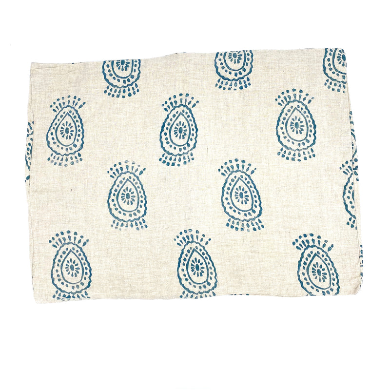 Block-Print Pineapple Flower in Navy Standard Sham