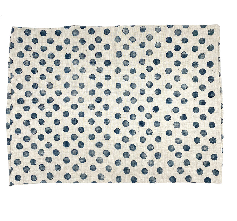 Block-Print Dots in Navy on Oatmeal Linen Pillowcase