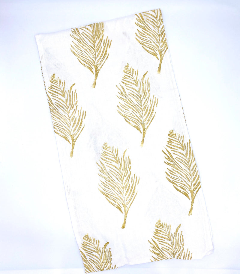 Linen Table Runner in Gold Feather