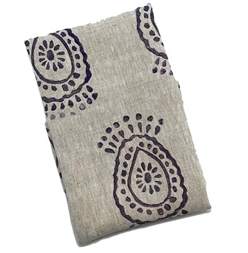 Pineapple Flower Print Linen Tea Towel Purple Haze|Oat