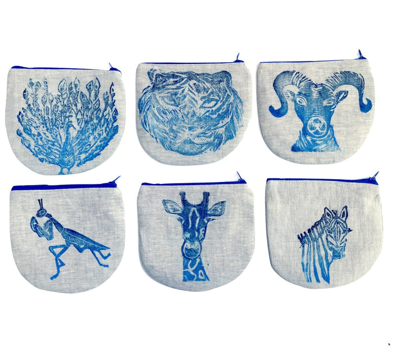 series of 6 animal pouches in blue, peacock, tiger, ram, praying mantis, giraffe, zebra Tulusa